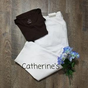 CATHERINE'S WHITE DENIM DISTRESSED CAPRIS, 18W